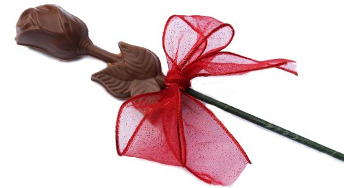 Chocolate Long Stem Roses - 1 single Rose for Valentine's Day, Mother's Day, Milk Chocolate