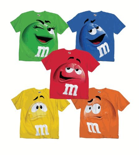 M&M M&M's Candy Green Silly Character Face Youth T-Shirt (Youth Large)