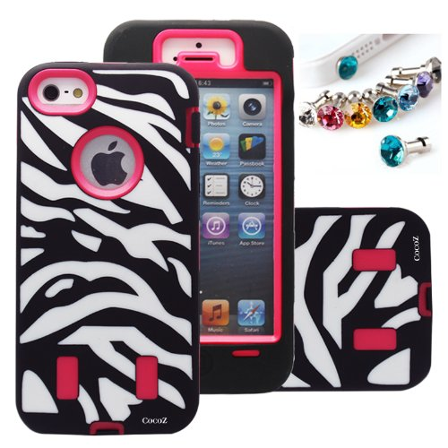 Cocoz® Deluxe Printed Hard Soft High Impact Hybrid Case Combo for Apple Iphone 5 , (Iphone 5, Zebra Hot Pink)--0005